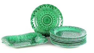Lot 26 - A COLLECTION OF ELEVEN 19TH CENTURY WEDGWOOD GREEN MAJOLICA PLATES