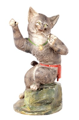 Lot 32 - A LATE 19TH CENTURY FRENCH PAINTED TERRACOTTA FIGURE OF A HUMOROUS CAT