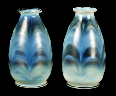 Lot 18 - A PAIR OF EARLY 20TH CENTURY VASELINE GLASS HANGING SHADES