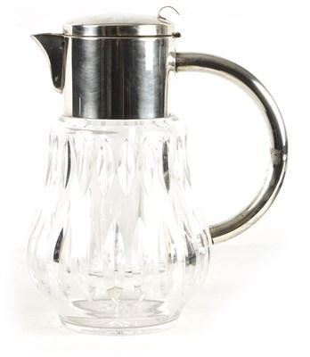Lot 12 - AN EDWARDIAN SILVER PLATED FACETED CUT GLASS LEMONADE JUG