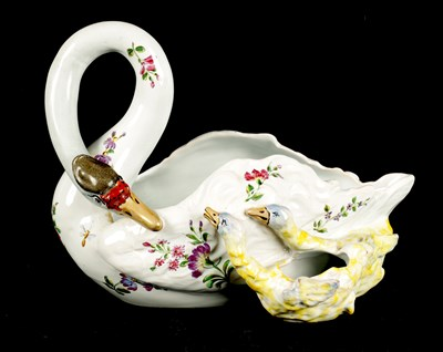 Lot 48 - A 19TH CENTURY EMILE GALLE FRENCH FAIENCE FLOWER BOWL MODELLED AS A SWAN WITH TWO SIGNETS