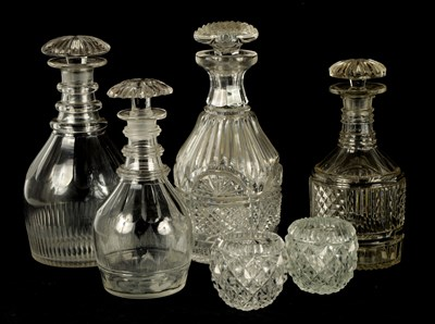 Lot 14 - A COLLECTION OF FOUR LATE GEORGIAN CUT GLASS DECANTERS